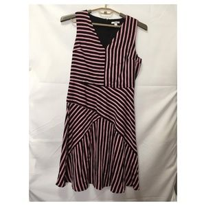 Bar III Striped V-Neck Sleeveless Dress Sz L L52